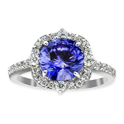 Cherie Sterling Silver Tanzanite and Cubic Zirconia Size 6 Ladies' Chantelle Halo Ring