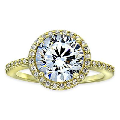 Cherie 18K Gold Plated Faceted Cubic Zirconia Size 7 Ladies' Halo Ring