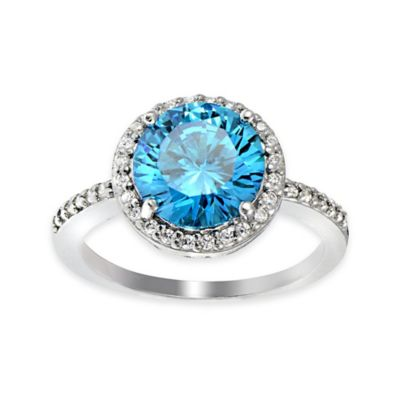 Cherie Sterling Silver White and Aqua Cubic Zirconia Size 5 Ladies' Halo Ring