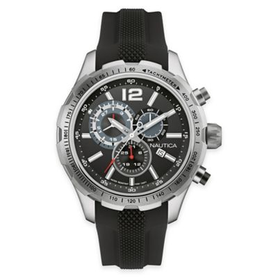 Nautica® Men's 45mm NST 30 Sport Watch in Stainless Steel and Black Silicone Strap