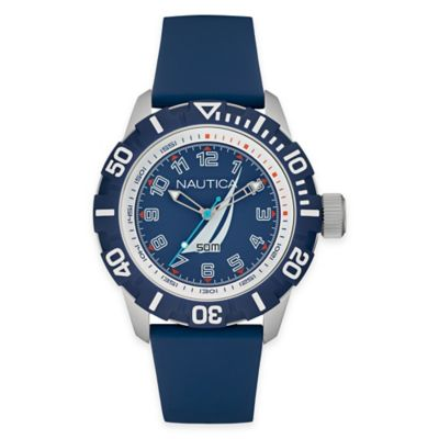 Nautica® Men's 44mm NSR 100 J-Class Watch in Blue Stainless Steel with Blue Silicone Strap