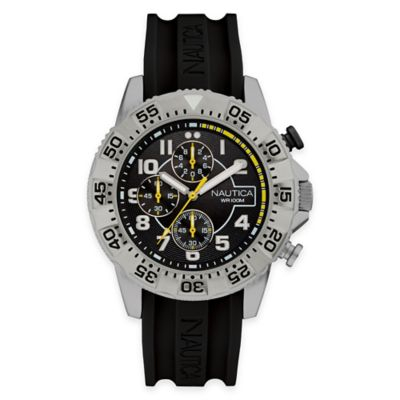 Nautica® Men's 46mm NSR 104 Sport Watch in Stainless Steel with Black Silicone Strap