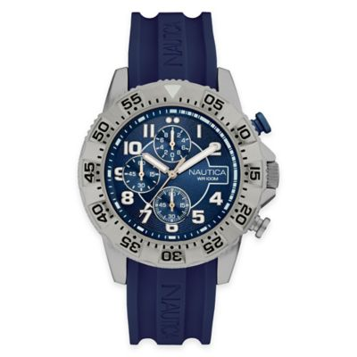 Nautica Men's 46mm Analog Display Chronograph Watch in Stainless Steel with Blue Strap