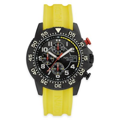 Nautica Men's 46mm Analog Display Chronograph Watch in Black Stainless Steel with Yellow Strap