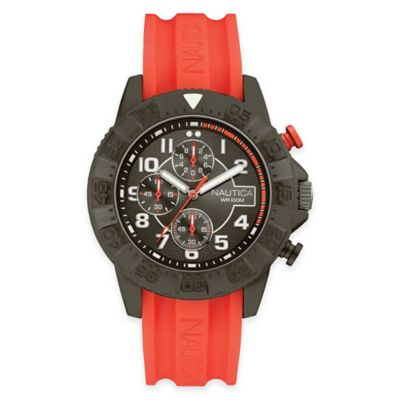 Nautica Men's 46mm Analog Display Chronograph Watch in Black Stainless Steel with Orange Strap