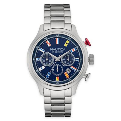 Nautica Men's 44mm 16-Flag Chronograph Bracelet Watch in Stainless Steel
