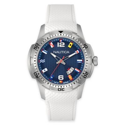 Nautica® Men's 44mm NCT 16 Flag Watch in Stainless Steel with White Croc-Embossed Leather Strap