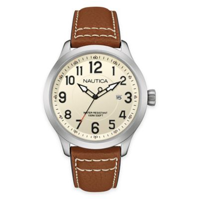 Nautica® Men's BFD 101 43mm Watch in Stainless Steel with Cognac Leather Strap