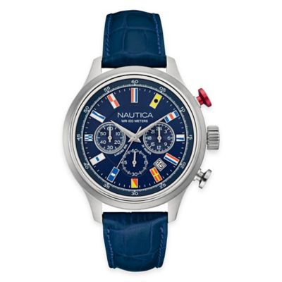 Nautica Men's 44mm 16-Flag Chronograph Bracelet Watch in Stainless Steel with Blue Leather Strap