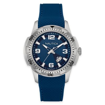 Nautica® Men's 43mm NCS 16 Sport Watch in Stainless Steel with Blue Silicone Strap and Blue Dial