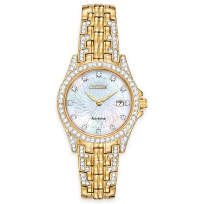 Citizen Eco-Drive Ladies' 28mm Silhouette Swarovski® Crystal Watch in Goldtone Stainless Steel