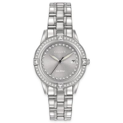 Citizen Eco-Drive Women's 29mm Silhouette Swarovski Crystal Bracelet Watch in Stainless Steel
