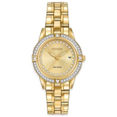 Citizen Eco-Drive Ladies' 29mm Silhouette Swarovski Crystal® Watch in Gold-tone Stainless Steel