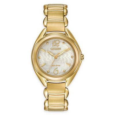 Citizen L Series Eco-Drive Ladies' 31mm Gold-Tone Stainless Steel Dress Watch with Ivory Dial