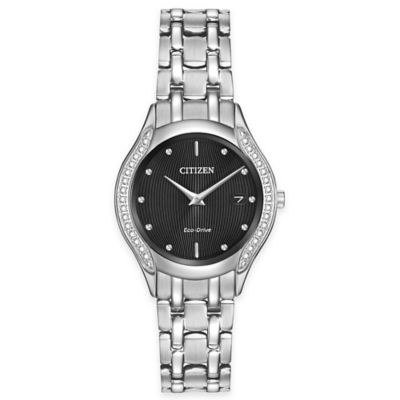 Citizen Eco-Drive Ladies' 27mm Diamond Dial Bracelet Watch in Stainless Steel
