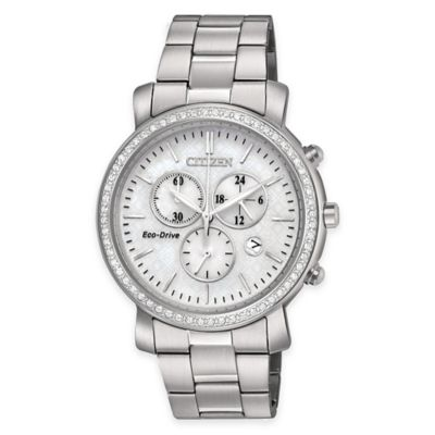 Citizen Eco-Drive Ladies' AML Drive Chronograph Watch w/Swarovski® Crystals in Stainless Steel