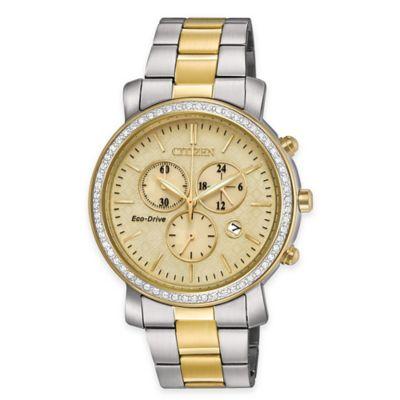 Citizen Eco-Drive Women's AML Chronograph Dress Watch w/Swarovski Bezel in Two-Tone Stainless Steel