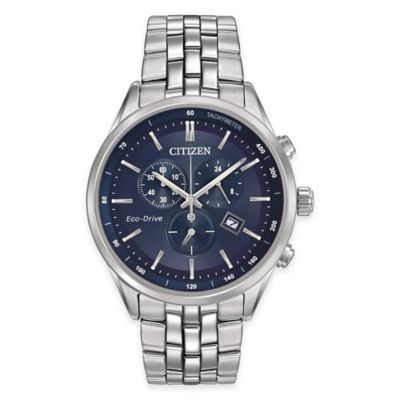 Citizen Eco-Drive Men's 42mm Dress Chronograph Bracelet Watch with Blue Dial in Stainless Steel