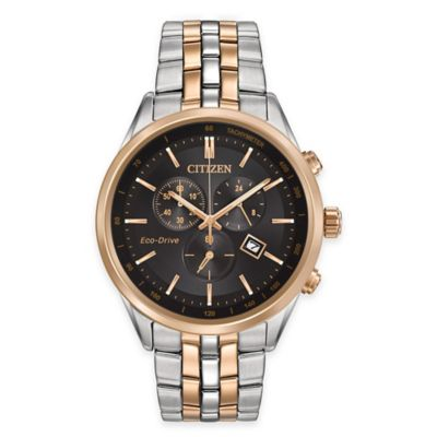 Citizen Eco-Drive Men's 42mm Chronograph Watch in Rose Gold and Stainless Steel with Black Dial