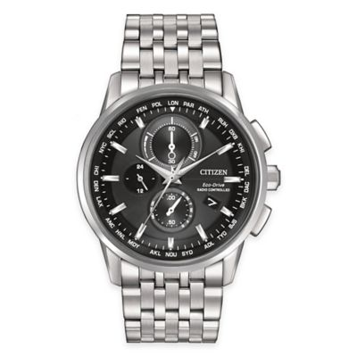 Citizen Eco-Drive Men's 43mm Chronograph A-T Watch in Silvertone Stainless Steel with Black Dial