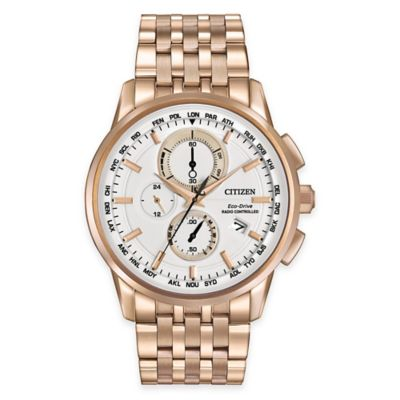 Citizen Eco-Drive Men's 43mm Chronograph A-T Watch in Rose Goldtone Stainless Steel With White Face