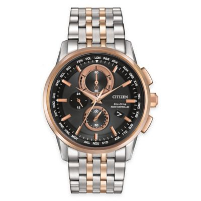 Citizen Eco-Drive Men's 43mm Chronograph A-T Watch in Rose Gold and Stainless Steel with Black Dial