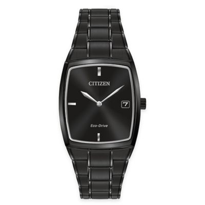 Citizen Eco-Drive Men's 44*32mm Tonneau Watch in Black Ion Plated Stainless Steel with Black Dial