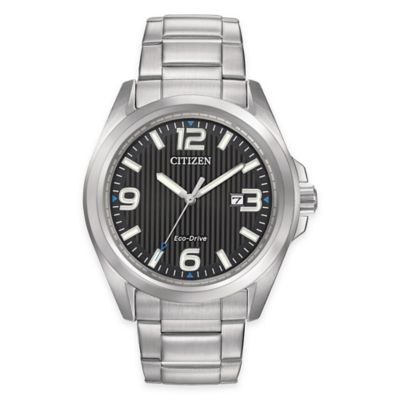 Citizen Eco-Drive Men's 43mm Watch in Silvertone Stainless Steel with Striped Black Dial