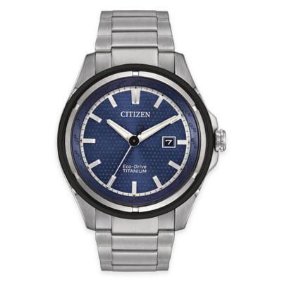 Citizen Eco-Drive Men's Titanium Watch with Blue Dial