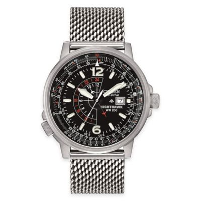 Citizen Eco-Drive Men's 42mm Mesh Bracelet Nighthawk Flight Watch in Stainless Steel with Black Dial