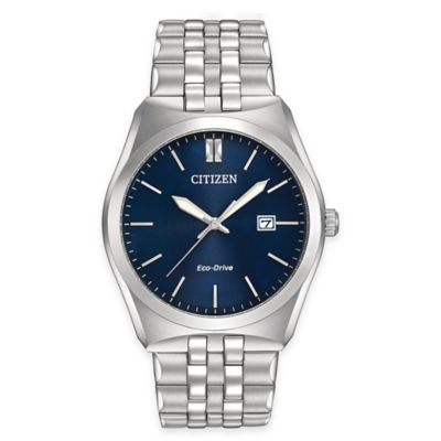 Citizen Eco-Drive Men's 40mm Watch in Stainless Steel with Deep Blue Dial