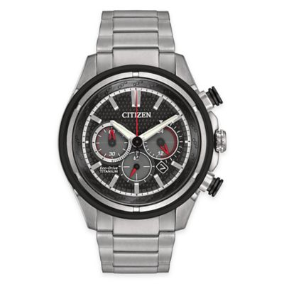 Citizen Eco-Drive Men's 46mm Chronograph Watch in Silver-Tone Titanium with Black Dial