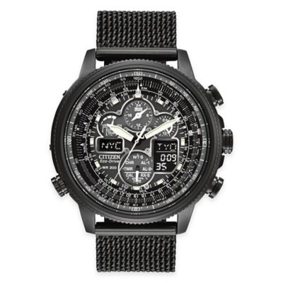 Citizen Eco-Drive Men's 48mm Navihawk A-T Ion Plated Mesh Bracelet Watch in Black Stainless Steel