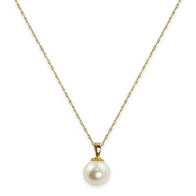 14K Yellow Gold-Plated Akoya Freshwater Cultured Pearl 18-Inch Chain Single Drop Pendant Necklace