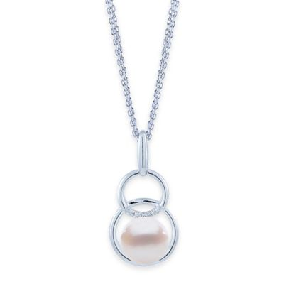Sterling Silver .05 cttw Diamond and Freshwater Cultured Pearl Double Circle Drop Pendant