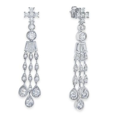 Platinum-Plated Sterling Silver 3.98 cttw Cubic Zirconia Waterfall Drop Post Earrings