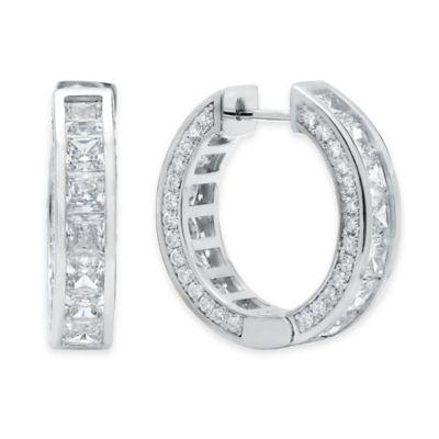 Crislu Platinum-Plated Sterling Silver 9.74 cttw Cubic Zirconia 22mm Channel Set Hoop Earrings