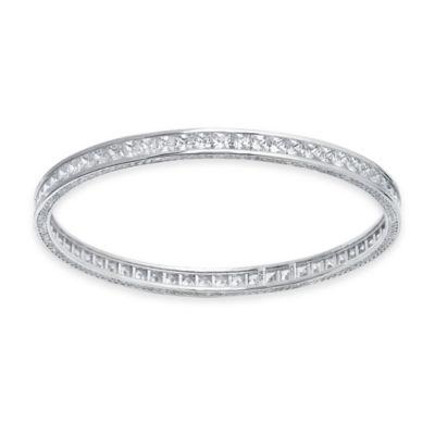 CRISLU Sterling Silver Cubic Zirconia Princess-Cut Channel-Set Bangle
