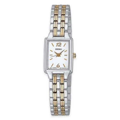 Seiko Ladies' Rectangular Dress Watch in Two-Tone Stainless Steel with White Face