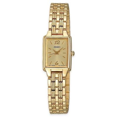 Seiko Ladies' Rectangular Dress Watch in Goldtone Stainless Steel with Champagne Dial