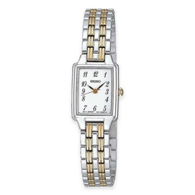 Seiko Ladies' Rectangular Dress Watch in Two Tone Stainless Steel with White Dial