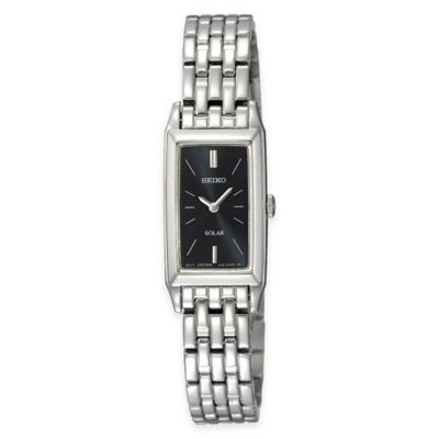 Seiko Ladies' Solar Rectangular Dress Watch in Stainless Steel with Black Dial