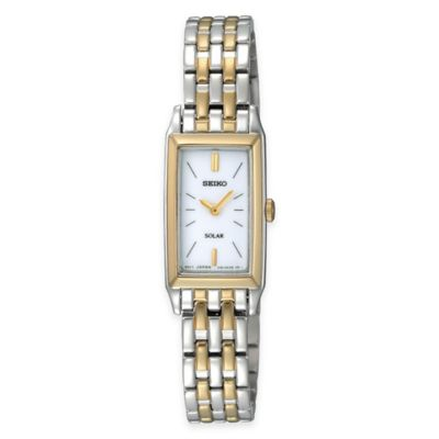 Seiko Ladies' Solar Rectangular Dress Watch in Two-Tone Stainless Steel