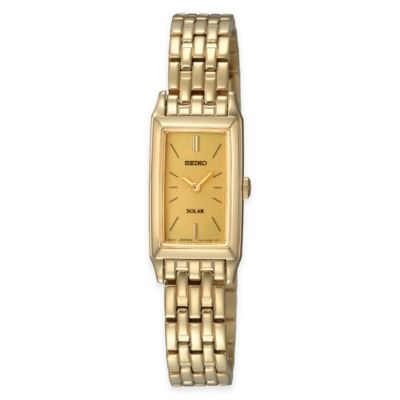 Seiko Ladies' Solar Rectangular Dress Watch in Goldtone Stainless Steel