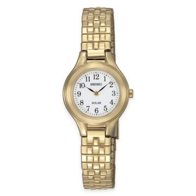 Seiko Solar Ladies' Watch in Gold-Tone Stainless Steel Watch with White Dial and Expansion Band