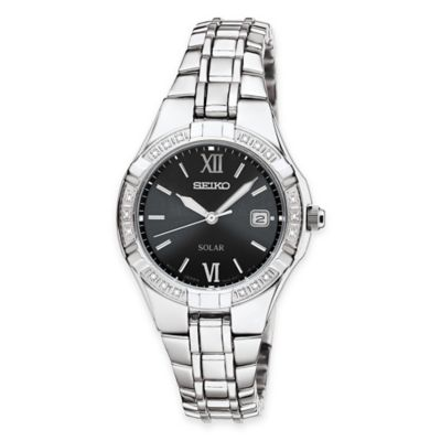 Seiko Ladies' Solar Dress Watch in Silvertone Stainless Steel