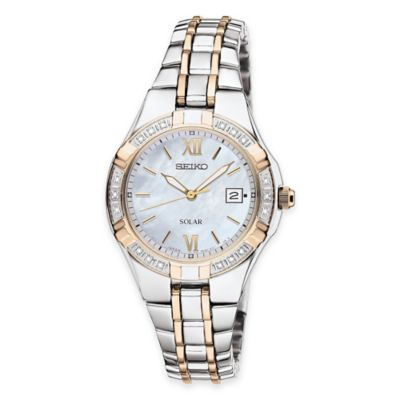 Seiko Solar Ladies' Watch in Two-Tone Stainless Steel with Mother of Pearl Dial and Diamond Bezel