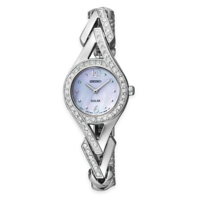 Seiko Solar Ladies' Dress Watch in Silvertone Stainless Steel with Swarovski® Crystals