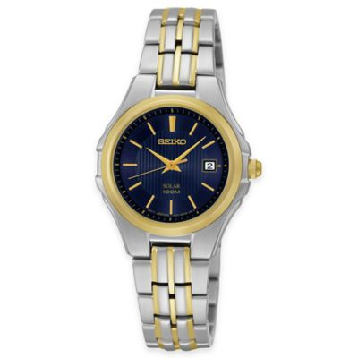 Seiko Solar Ladies' Watch in Two-Tone Stainless Steel with Blue Dial