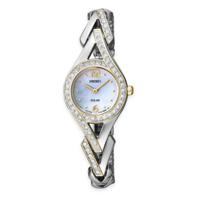 Seiko Solar Ladies' Dress Watch in Two-Tone Stainless Steel with Swarovski® Crystals